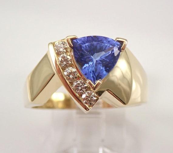 18K Yellow Gold 1.35 ct Trillion Tanzanite and Diamond Engagement Ring Size 9