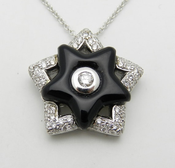 "Diamond and Onyx Black Star Pendant Necklace 18"" Chain 14K White Gold"