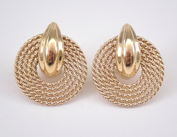 Vintage Estate 14K Yellow Gold Large Disk Rope Design Earrings Omega Clasps
