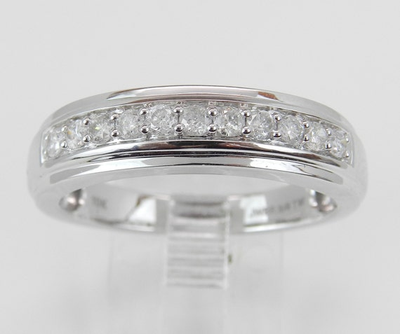 Mens Diamond Wedding Band Anniversary Ring White Gold Size 10.25