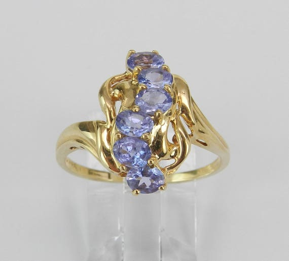 SALE Tanzanite Cluster Cocktail Ring Purple Lavender 14K Yellow Gold Size 8.5