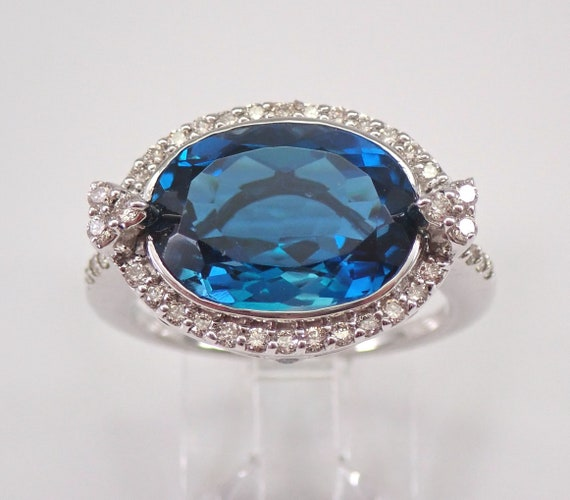 5.10 ct Oval London Blue Topaz and Diamond Halo Engagement Ring 14K White Gold Size 7 December Birthstone FREE Sizing