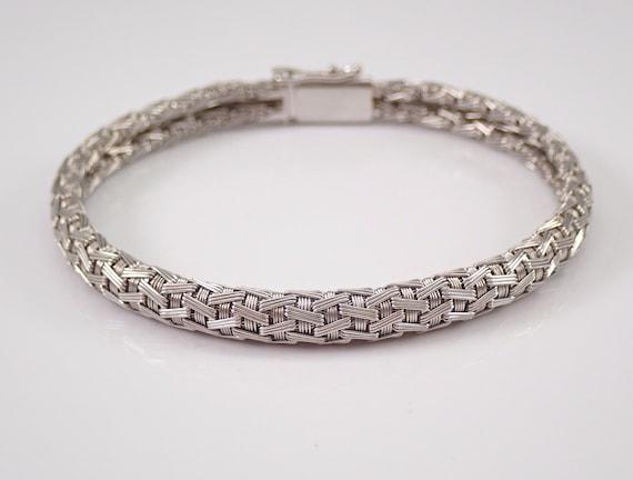 """Vintage Estate 18K White Gold Mesh Link Bracelet 7.5"""" GRADUATION Gift"""