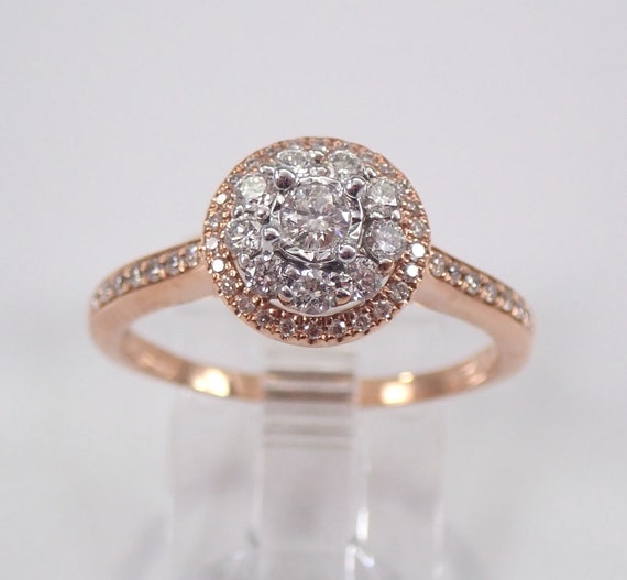 Diamond Cluster Halo Engagement Ring Rose Gold Promise Ring Size 7.25 FREE Sizing