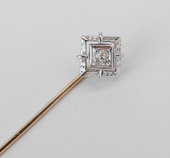 Antique Vintage Art Deco 14K White Yellow Gold Diamond Filigree Stick Pin Brooch