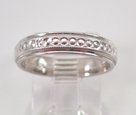 Vintage Estate 14K White Gold Wedding Band Anniversary Ring 4 mm Size 5.5