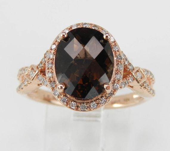 Diamond and Smokey Topaz Halo Engagement Ring Promise Ring Rose Gold Size 7.25