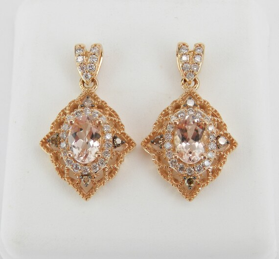Antique Style Morganite and Diamond Filigree Drop Earrings Rose Gold Pink Aquamarine Gemstone
