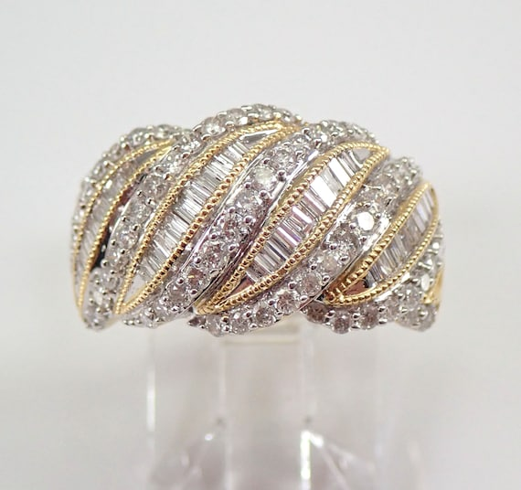 1.00 ct Wide Diamond Wedding Ring Dome Anniversary Band 14K Yellow Gold Size 7 FREE Sizing