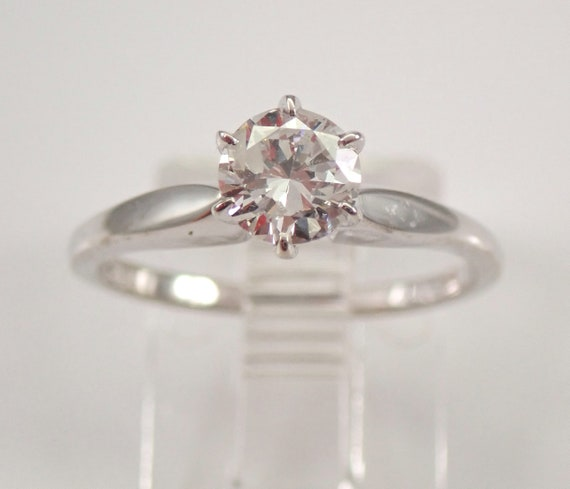 14K White Gold .53 ct Round Solitaire Diamond Engagement Ring Size 5 FREE SIZING