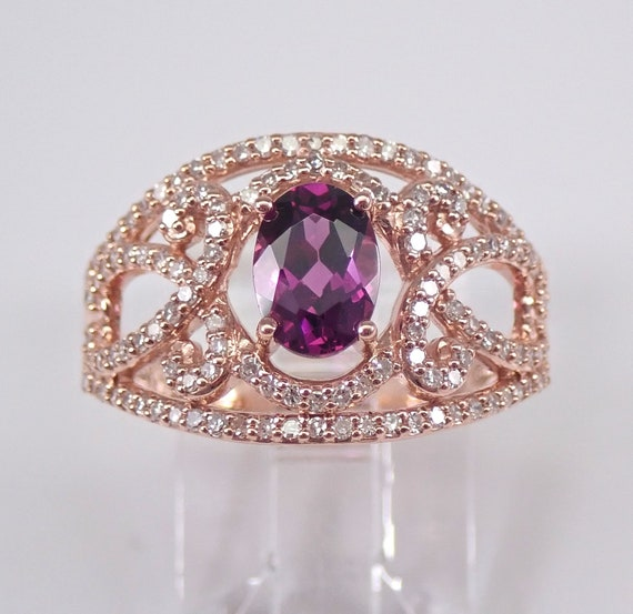 Rhodolite Garnet and Diamond Engagement Ring Rose Gold Size 7 RARE VIVID Color January Birthstone FREE Sizing