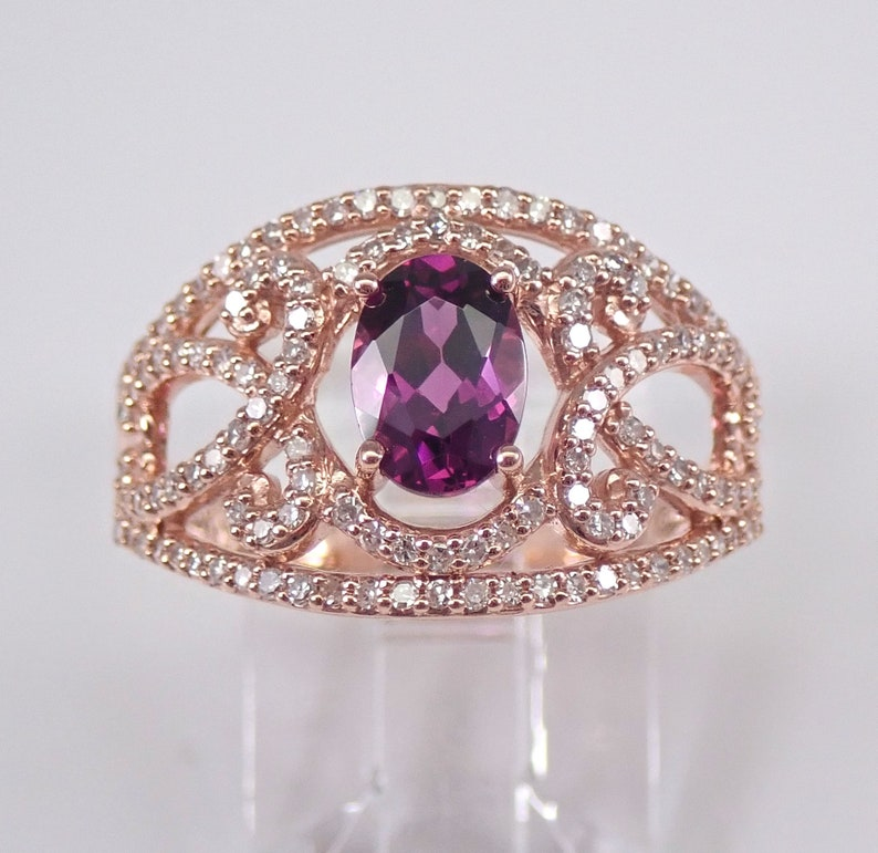 Rhodolite Garnet and Diamond Engagement Ring Rose Gold Size 7 image 0