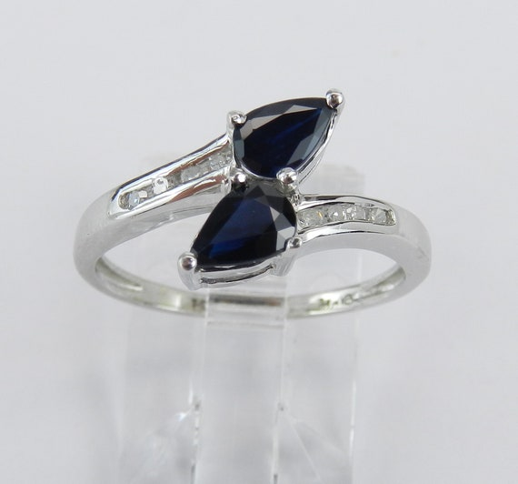 14K White Gold Diamond and Sapphire Cocktail Ring Bypass Size 6.25