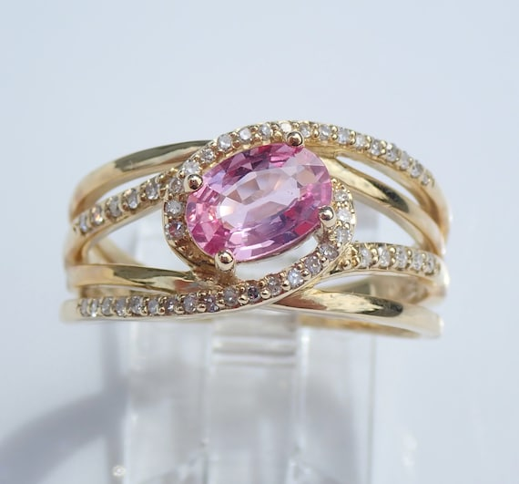 Diamond and Pink Sapphire Engagement Ring Yellow White Gold Size 7 Multi Row