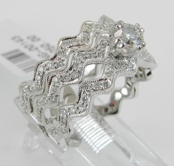 Diamond Engagement Ring 18K White Gold 1.12 ct Round Brilliant Diamond Engagement Wedding Ring Band Set Size 7