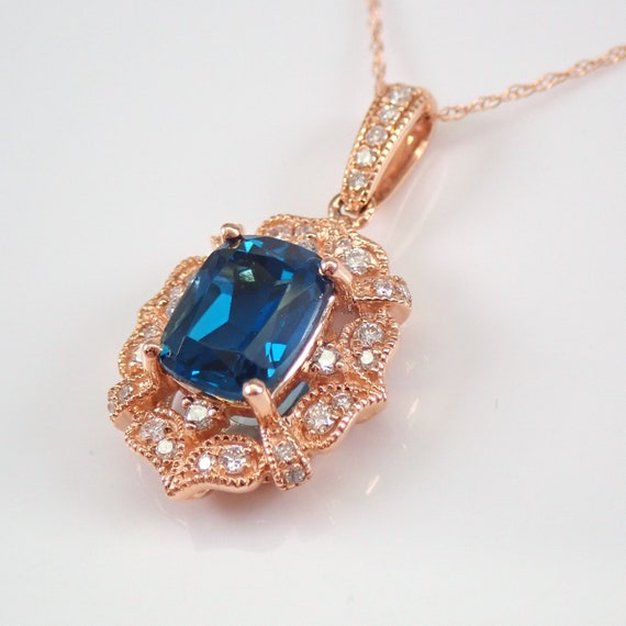 "14K Rose Gold Cushion Cut London Blue Topaz and Diamond Halo Pendant Necklace 18"" Chain"