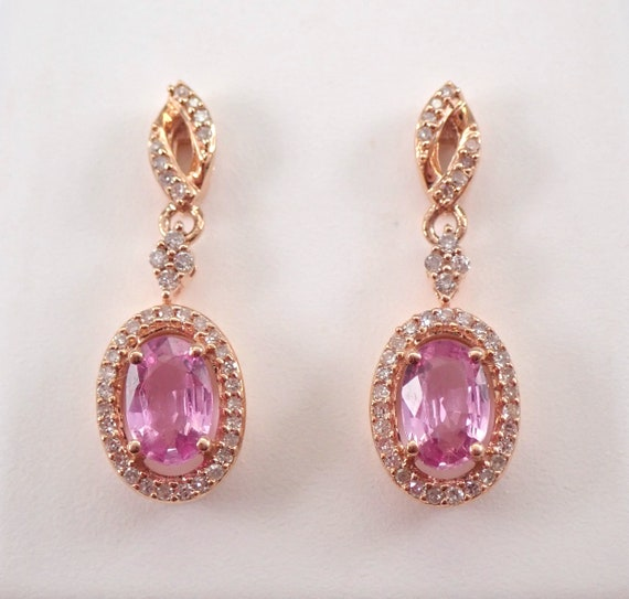 Pink Sapphire and Diamond Halo Drop Dangle Earrings Rose Gold September Gemstone