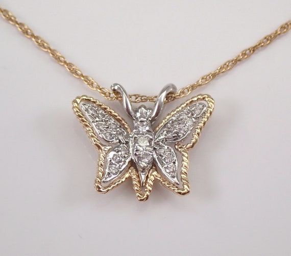 "Estate Vintage 14K Yellow Gold Diamond Butterfly Pendant Necklace 15"" Chain"
