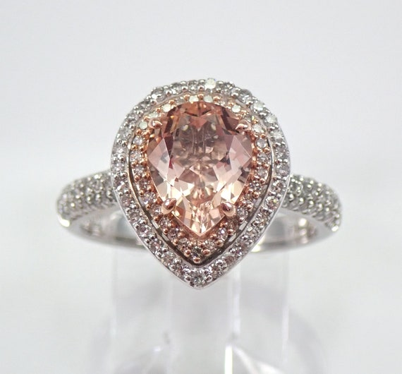 14K White Gold Morganite and Diamond Engagement Ring Size 7 Pear Pink Aquamarine Gemstone Ring FREE Sizing