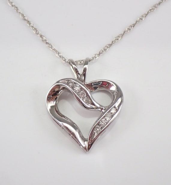 "Diamond Heart Pendant Necklace 14K White Gold Chain 18"" Wedding Gift"