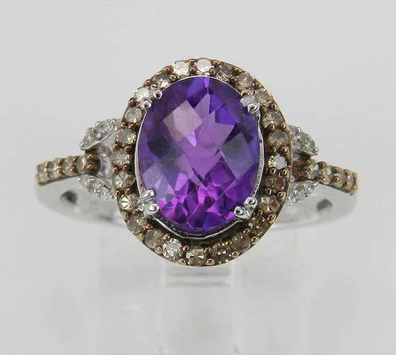 Amethyst and Fancy Diamond Halo Engagement Promise Ring White Gold Size 7 February Birthstone FREE Sizing