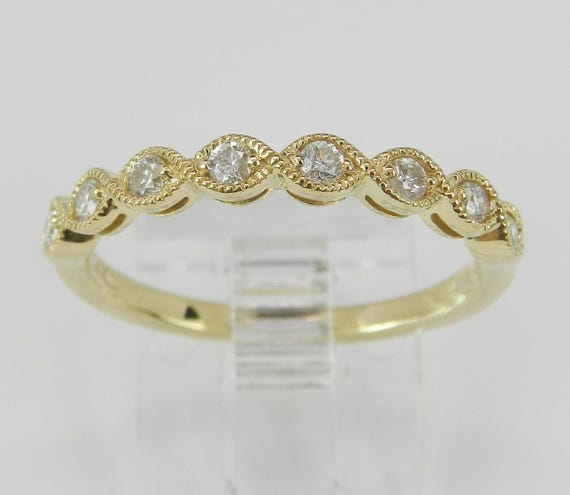 Diamond Wedding Ring Anniversary Band 14K Yellow Gold Stackable Natural Size 7
