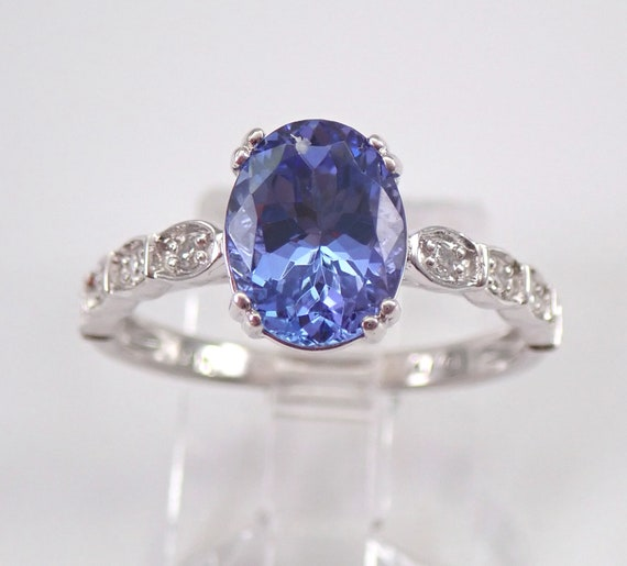 14K White Gold 2.10 ct Diamond and Oval Tanzanite Engagement Ring Size 7