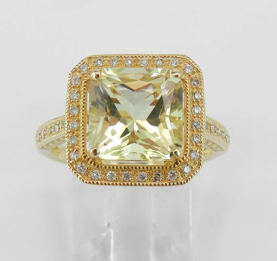 Lemon Quartz and Diamond Engagement Ring Radiant Cut Yellow Gemstone Halo Ring 14K Yellow Gold Size 7
