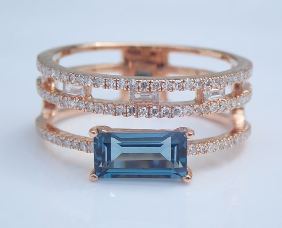 London Blue Topaz and Diamond Multi Row Stackable Ring Rose Gold Size 7
