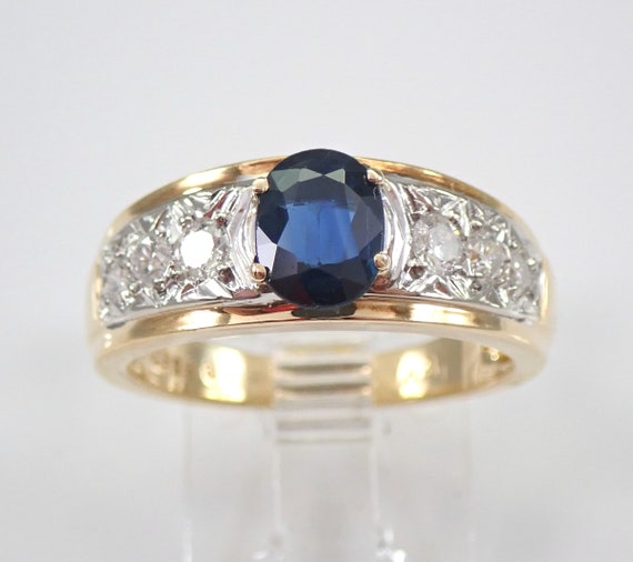 18K Yellow Gold Diamond and Sapphire Engagement Ring Size 6.75 September Gem FREE Sizing