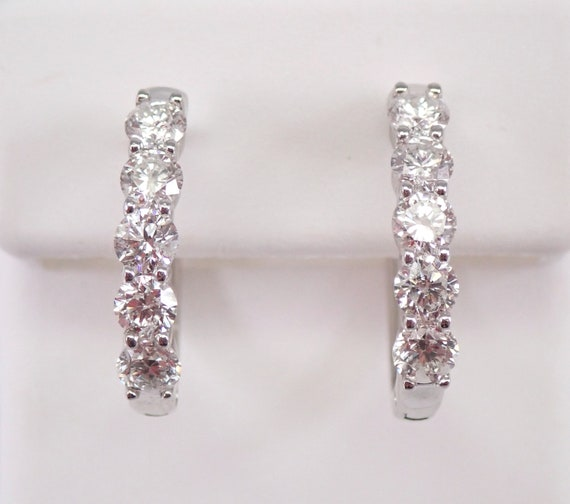 14K White Gold 1.50 ct Diamond Hoop Earrings Diamond Hoops Huggies Modern Design
