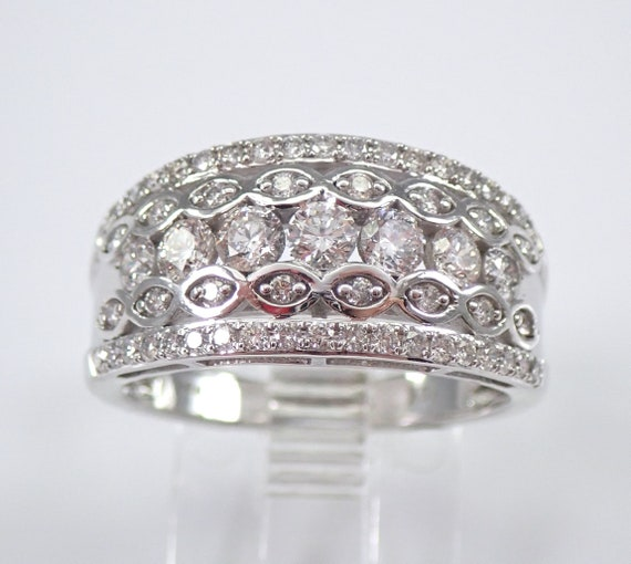 White Gold 1.00 ct Diamond Anniversary Ring Wide Stackable Wedding Band Size 6.75 FREE Sizing