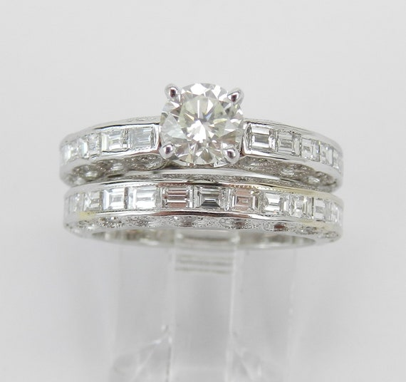 18K White Gold 2.16 ct Diamond Engagement Ring Wedding Band Set Size 5.5