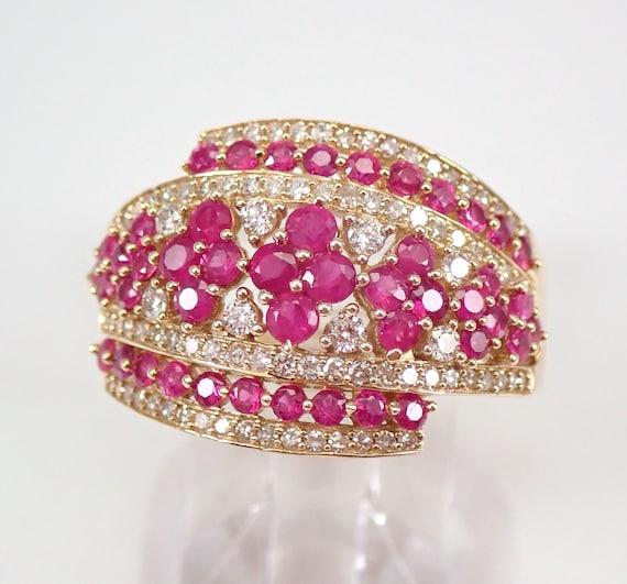 Diamond and Ruby Wedding Ring Anniversary Band 14K Yellow Gold Size 7.25 FREE SIZING