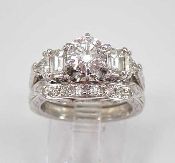 Platinum Diamond Engagement Ring Wedding Band Set Size 4.5 AGS Certified