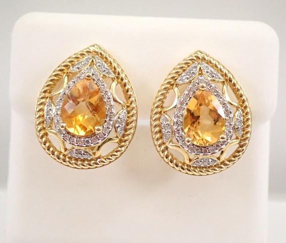 14K Yellow Gold 2.22 ct Pear Citrine and Diamond Earrings November Birthstone