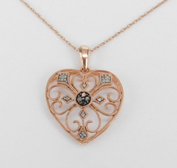 Rose Gold Heart, Diamond Heart, Heart Pendant, Pink Gold Necklace, Filigree Heart Necklace, Antique Style Heart, Rose Gold Necklace