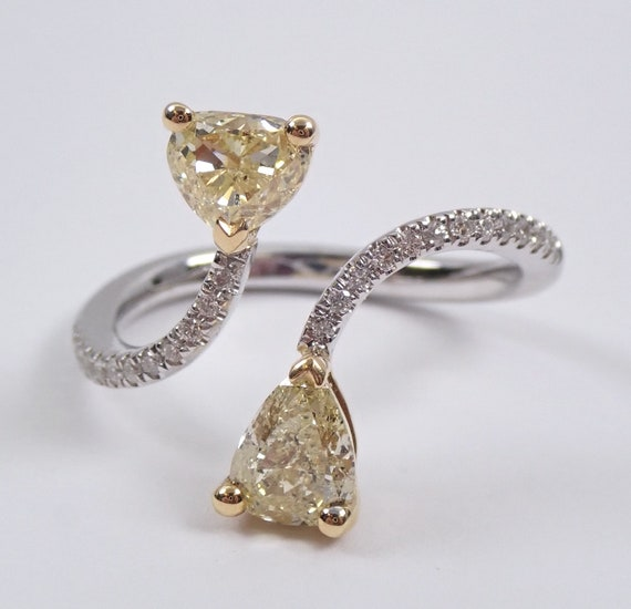 Pear and Trillion Canary Diamond Bypass Ring 18K White Gold Size 6.5 One of a Kind FREE Sizing