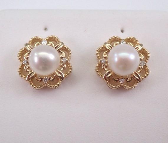 14K Yellow Gold Pearl and Diamond Stud Earrings June Birthstone Flower Studs