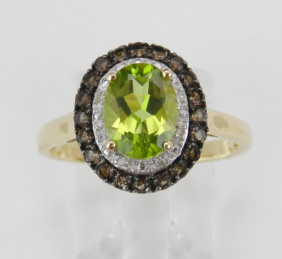 Peridot Diamond Smokey Topaz Halo Engagement Promise Ring Yellow Gold Size 6 August Birthstone