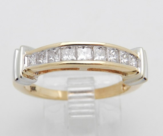 Princess Cut Diamond Wedding Ring Anniversary Band 14K Yellow White Gold Size 7.25