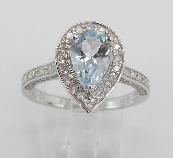 Diamond and Aquamarine Ring, Halo Engagement Ring, 14K White Gold Aqua Ring, March Birthstone Ring, Pear shaped Halo Ring, Diamond Halo