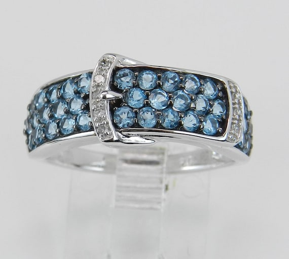 Diamond and Blue Topaz Ring, Belt Buckle Ring, White Gold Pave Set Ring, Unique Fashion Ring, Size 7.25
