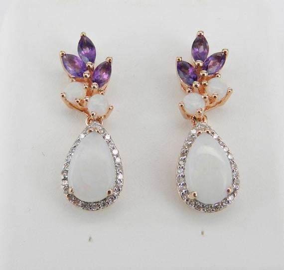 14K Rose Gold Opal Amethyst Diamond Drop Cluster Earrings Wedding Gift