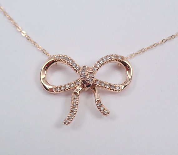 "Rose Gold Diamond Bow Tie Necklace 17"" Chain Wedding Pendant Unique Gift"