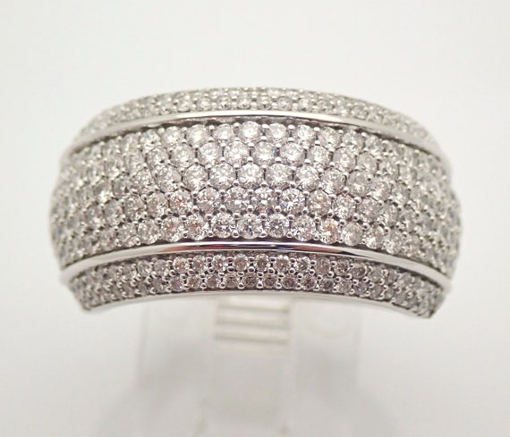 14K White Gold 1.75 ct Diamond Wedding Ring Anniversary Band Stackable Size 7 FREE Sizing