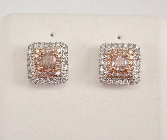 18K White Gold Cushion Cut Pink Diamond Stud Earrings Halo Studs MUST SEE