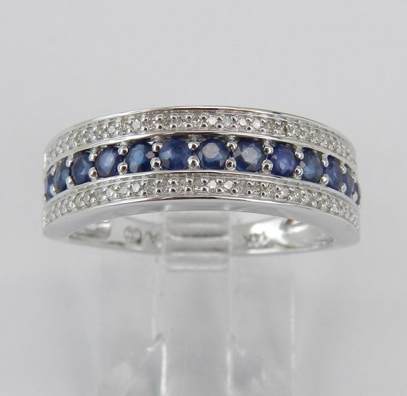 Diamond and Sapphire Wedding Ring Anniversary Band 14K White Gold Size 7 FREE Sizing