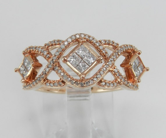 Rose Gold Princess Cut Diamond Wedding Ring Anniversary Band, Antique Style Diamond Ring, Size 7.25 FREE Sizing