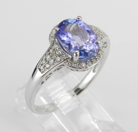 White Gold 2.00 ct Diamond and Tanzanite Engagement Promise Ring Size 7